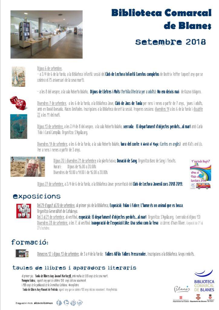 Biblioteca Jove Agenda d'activitats setembre 2018